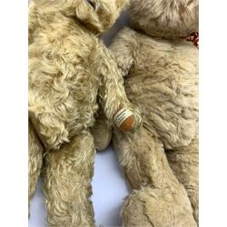 Farnell Invicta teddy bear, the swivel jointed head with glass eyes and brown vertically stitched nose and mouth and jointed limbs with velvet pads H22