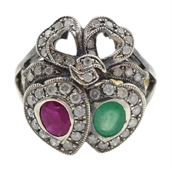 Victorian style gold and silver emerald, ruby and diamond heart design ring, with bow top