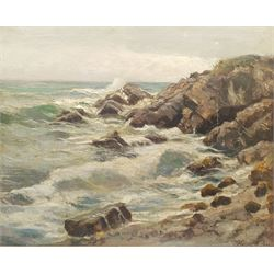Jeno Karpathy (Hungarian 1870-1950): Waves Breaking on the Coast, oil on canvas signed 63cm x 79cm
