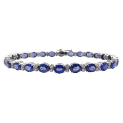 18ct white gold oval sapphire and diamond bracelet, stamped 750, total sapphire weight approx 12.00 carat
