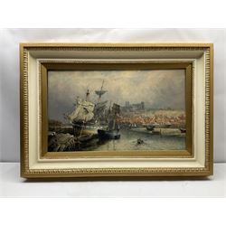 Richard Weatherill (British 1844-1913): Whitby Harbour with Sailing Boats and Steam Ship at Low Tide, oil on canvas signed 44cm x 76cm Notes: this is a near identical view to the one sold by David Duggleby Ltd 6th November 2020 Lot 96, which at 60cm x 90cm was the largest work by Weatherill to have come on the market in the last 20 years