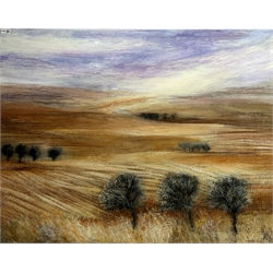 Rosemary Abrahams (British c.1945-): 'North Wind', oil on canvas, signed and titled verso 90cm x 120cm (unframed) Provenance: purchased from the 'Biscuit Factory' Contemporary Art Gallery, Newcastle upon tyne