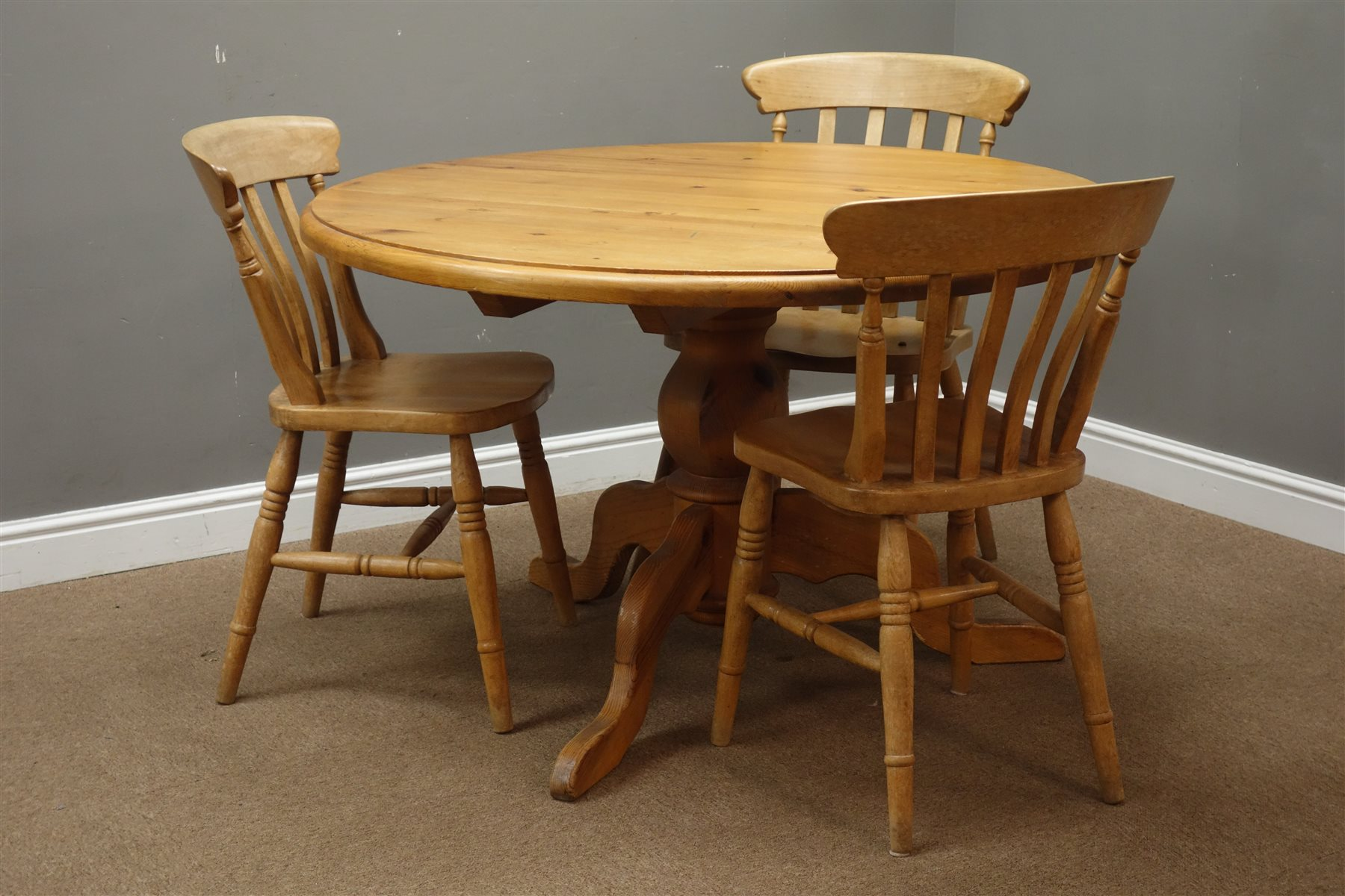Circular Pine Pedestal Dining Table D120cm H73cm And Three Farmhouse Style Dining Chairs Antiques Interiors