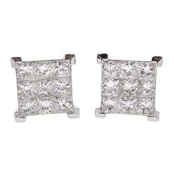 Pair of 18ct white gold pavé set, princess cut diamond stud earrings, hallmarked, total diamond weight approx 2.00 carat