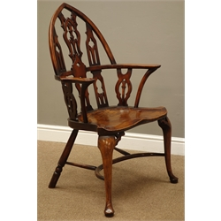 19th century 'Strawberry Hill' yew and elm Windsor chair with Gothic arched back and splats, shaped arms on curved supports, dished seat, later beech cabriole legs with pad feet, crinoline stretcher