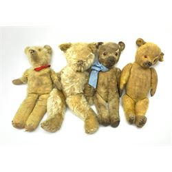 Four English teddy bears 1930s-1950s, all well loved for spares or repair, including a Chiltern flat-face bear, swivel jointed head with glass eyes and vertically stitched nose and mouth H16