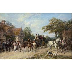 Heywood Hardy (British 1842-1933): 'Outside the White Swan Inn', oil on canvas signed 49cm x 75cm Provenance: purchased by the vendor Sotheby's London 12th November 1992, Lot 211