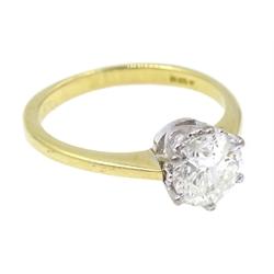 18ct gold brilliant cut diamond solitaire ring, diamond approx 1.15 carat