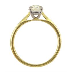 18ct gold single stone old cut diamond ring, hallmarked, diamond approx 0.80 carat