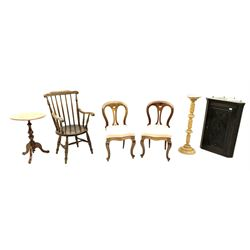 19th century carved oak corner cupboard, beech plant stand with twist stem, 19th century walnut tripod table, 19th century elm and beech farmhouse stick back armchair and a pair Victorian style mahogany chairs (6)
