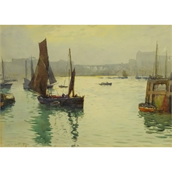 Ernest Dade (Staithes Group 1868-1934): Fishing Boats outside Scarborough Harbour, watercolour signed and dated '89, 23.5cm x 33cm