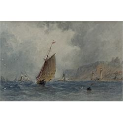 George Weatherill (British 1810-1890): Fishing Boat under Sail 'Off Whitby', watercolour unsigned, paper watermark  'J Whatman 1854', 9cm x 13.5cm