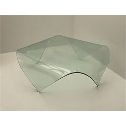Contemporary curved and folded glass coffee table