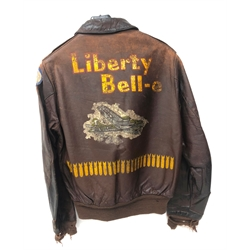 WW2 US Air Force brown leather flying jacket, back painted 'Liberty Belle', labelled Type A-2 Drawing No.30-1415, Contract No.W535 ac2356, Poughkeepsie Leather Coat Co.Inc, Poughkeepsie NY, Property Airforce US Army, size 38, marked S-0751, with hook and eye neck, press stud collar and twin pocket flaps, Talon metal zip and elasticated waist and cuffs, 8th Air Force arm patch and Joker insignia for 570th Strategic Missile Squadron