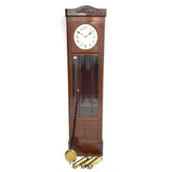 Early 20th century mahogany longcase clock, circular silvered Arabic dial, triple brass weight driven movement striking on rods