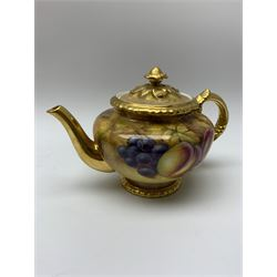 Royal Worcester tea service for six, hand painted with fruits and heightened with gilt, signed J Smith, comprising teapot, teacups, saucers, side plates, sucrier, milk jug and plate, each with black printed mark beneath