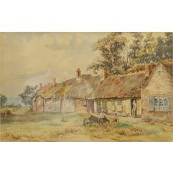 Frank Belshaw (British 1855-1884): Taking a Rest outside Thatched Cottages, watercolour signed 29cm x 44cm