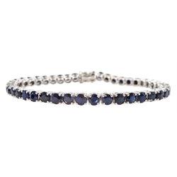 18ct white gold round sapphire line bracelet, hallmarked, total sapphire weight approx 7.00 carat