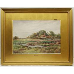 C Kipling (British 19th century): House on a Marsh, watercolour signed 34cm x 48cm