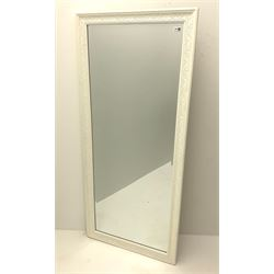 French style wall bevel edge mirror, moulded frame in cream finish