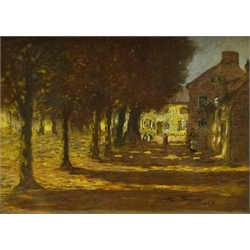 Mark Senior (Staithes Group 1862-1927): Sunlight through the Trees in the Village Square, pastel signed and dated 1905, signed and inscribed 'Artist's Sketch' verso 26cm x 36cm