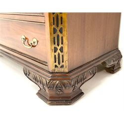 Georgian style mahogany chest, moulded top with canted corners, four drawers, carved ogee bracket supports