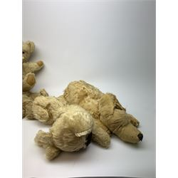 Four Alpha Farnell animal night-dress cases, one as a white wool plush seated teddy bear with original Hygienic label H15
