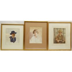 George Harrison (York 1882-1936): Bust Portraits, three watercolours signed, two dated 1917 and 1926, max 25cm x 21cm (3) Provenance: purchased David Duggleby Ltd 15th July 2017, part of the artist's original studio collection.  Harrison studied at York School, Leeds College of Art, RCA and Newlyn; he became Principal of York School of Art and also ran a school of art at the Corn Mill Stamford Bridge York.