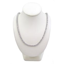 White gold round brilliant cut diamond necklace, stamped 18K, total diamond weight 14.20 carat