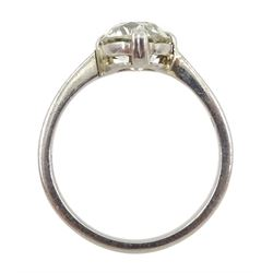 Platinum single stone old cut diamond ring, hallmarked, diamond approx 1.65 carat