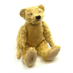 Alpha Farnell Toys large blonde mohair teddy bear with glass eyes, vertically stitched nose and mouth and jointed limbs with stitched claws, label to right foot pad H23.5