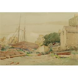Mary Victoria Jump (British 1897-1989): 'A Quiet Corner' - Boats near Liverpool, watercolour signed, titled verso on exhibition label 24cm x 34cm