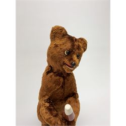 'Meabeab' Russian clockwork plush covered bear c1950s depicted standing with open mouth holding an ice lolly H9