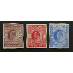 Great Britain King Edward VII mint five shillings, ten shillings and two shillings & sixpence stamps