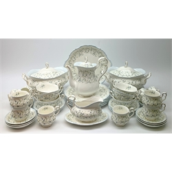 Royal Albert Caroline pattern tea and dinner wares, comprising teapot, six teacups and six saucers, six coffee cups and six saucers, six dinner plates, six dessert plates, six side plates, six twin handled soup bowls and six saucers, serving or sandwich platter, two tureen and covers, and a saucer boat and stand.