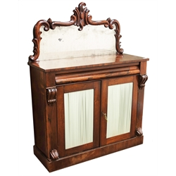 19th century rosewood Chiffonier raised mirror back, single frieze drawer above two doors with pleated fabric panels, plinth base, W108cm, H91cm, D42cm