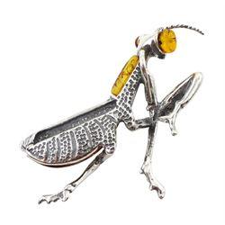 Silver amber grasshopper pendant, stamped 925