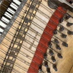Collard & Collard - early Victorian rosewood grand piano, carved scrolling acanthus leaf mounts to each side, turned and carved hexagonal tapering supports with brass cups and castors, lyre shaped pedals with brass rod strings, the lid catches with rose carved handles, W121cm, L205cm