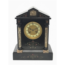 Victorian black slate mantel clock, stepped sloping pediment with marble inset, marble half column pilasters enclosing Arabic dial, twin train movement striking the hours and half on single coil, gilt and painted engraved detail, H35cm