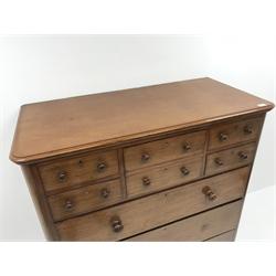 Victorian mahogany chest, six short and three long drawers, bun feet, W123cm, H132cm, D58cm