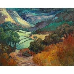 Expressionist School (Mid 20th century): Rolling Landscape, impasto oil on canvas unsigned 59cm x 74cm