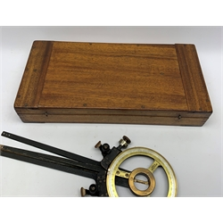 Kelvin & Hughes Ltd. maritime Station Pointer with brass and silvered dial and black crackled arms, No. CAT2263 220, in original fitted mahogany box with arm extensions L50cm