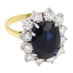 18ct gold unheated oval sapphire and diamond cluster ring, hallmarked, sapphire 7.26 carat, total diamond weight approx 1.70 carat, with certificate
