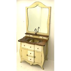 Distressed cream painted vanity unit, fitted with three drawers and two cupboards, hardwood top with sink recess, high mirror back