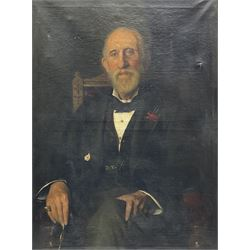 Frederick (Fred) William Elwell RA (British 1870-1958): Portrait of a seated Gentleman, oil on canvas signed and dated 1891, 85cm x 63cm