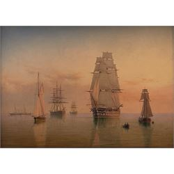William Frederick Settle (British 1821-1897): British Men o' War other Sail and Steam Vessels in Turbulent Waters & Shipping Becalmed at Sunset, pair oils on panel signed with monogram and dated 1884, 22cm x 30cm (2)