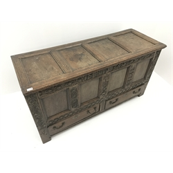 18th century oak mule chest, four panelled hinged lid, carved front, two drawers, stile supports, W150cm, H78cm, D56cm