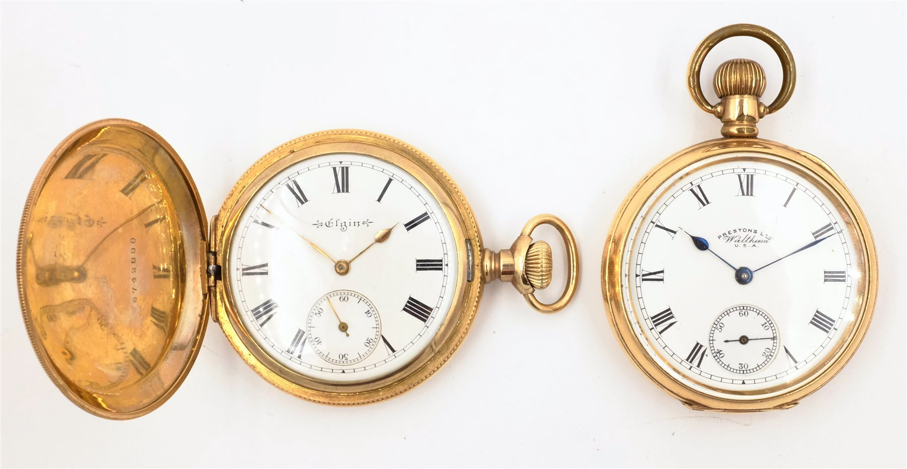 Gold Plated Hunter Pocket Watch By Elgin And A Gold Plated Pocket Watch By Waltham Both Crown Wound Jewellery Silver Clocks Watches