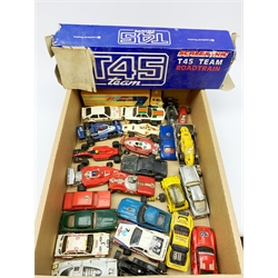 Various makers - twenty-six slot-racing models by Scalextric, Airfix, Polistil etc, including racing cars, rally cars, trucks, Mini, Saloon cars etc, all unboxed and predominantly for spares or repair