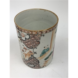 A Chinese Famille Rose vase, probably 18th century, of square section baluster form, decorated with sages, attendants and other figures, within a mountainous landscape, with twin iron red mask ring handles, H28cm, together with a similarly decorated cider mug, (a/f, lacking handle).